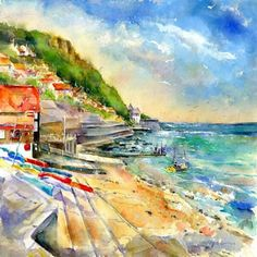 Capture a Runswick Bay 1 image on a designer roller blind at Creatively Different Blinds. Runswick Bay 1 blinds from just Illustrator, Watercolour Painting, Watercolours, More Pictures, Coastal, Art Cards, Fine Art, Yorkshire, Blinds