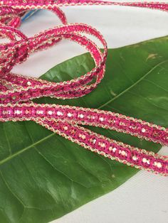 Pink and Gold Skinny Sari Trim