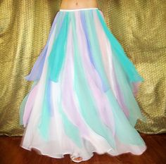 Ameynra Belly Dance costume Maxi SKIRT,  WHITE Chiffon with twice more Lilac Aqua Lavender color Petals, Size M New