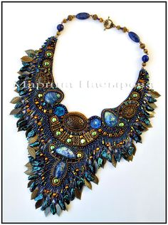 Beautiful embroidered jewellery by Marina Nasyrova.  See more on beadsmagic.com