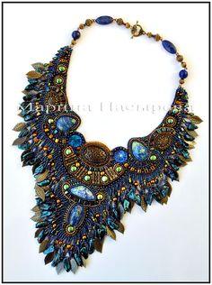 Beautiful embroidered jewellery by Marina Nasyrova.  See more on beadsmagic.com