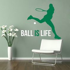 Tennis Vinyl Stickers Quote Ball Is Life Wall Decals by DecalHouse