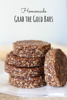 Homemade oat bar with peanut butter and almond flour. No salt or sugar added. Made these. Good!