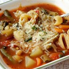 """""""I created this soup after becoming tired of the excess salt and lack of veggies in canned minestrone. I recalled a great bowl of minestrone that was overflowing with rich vegetables at the 'Sheepherder's Inn' Soup Recipes, Cooking Recipes, Healthy Recipes, Recipies, Yummy Recipes, Romaine Salad, Soup And Sandwich, How To Cook Pasta, Soup And Salad"""