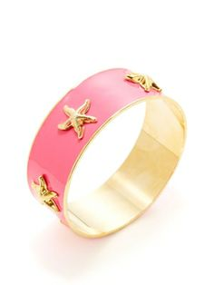 KEP neon pink bangle with starfish charms