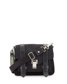 PS1+Small+Nylon+Crossbody+Bag,+Black+by+Proenza+Schouler+at+Bergdorf+Goodman.