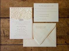 5 x 7 invite on card stock wi card stock backing and lace at top. coordinating A7 envelope, and RSVP reply postcard. Vintage Lace Wedding Invitations by LimeAndRuby on Etsy