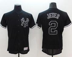 Yankees #2 Derek Jeter Black Fashion Flexbase Authentic Collection Stitched MLB Jersey