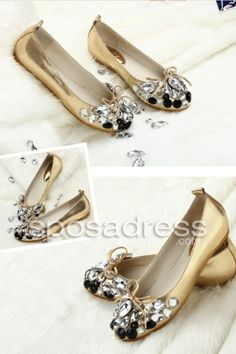 Exquisite Gold High Quality Zircon With Bow Decoration Lady Flat Shoes