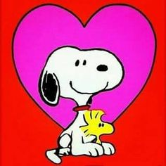 Snoopy With Woodstock Sitting Between His Paws in Front of a Very Large Heart