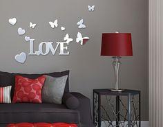 Spiegel-Design Schriftzug Love