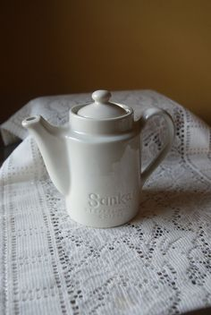 Vintage Hall, Sanka Instant Coffee, Creamy White, Small Tea Pot, Coffee Sever, Pottery Teapot, Restaurant, Hotel Ware, Single Chamber by BrindleDogVintage on Etsy
