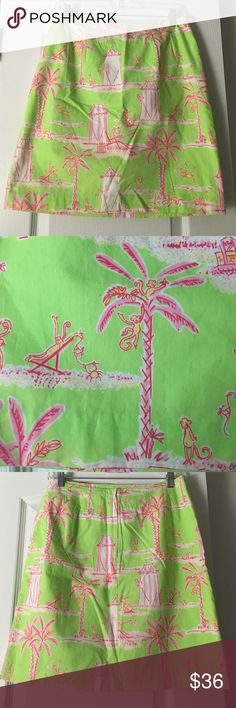 White tag Lilly Pulitzer skirt size 6 Monkeys, palm trees and umbrellas! What more could you want on a skirt?! Lilly Pulitzer Skirts Midi