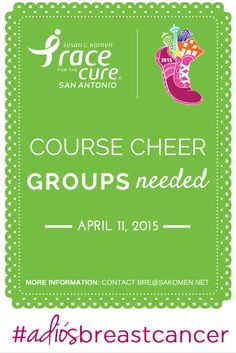 Do you have spirit? Want to share it? We could use your help on Race day! #AdiosBreastCancer