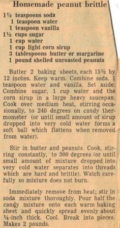 Homemade Peanut Brittle Recipe We had this brittle every Christmas along with her fudge. Homemade Peanut Brittle, Peanut Brittle Recipe, Brittle Recipes, Fudge Recipes, Microwave Peanut Brittle, Retro Recipes, Old Recipes, Vintage Recipes, Sweet Recipes