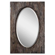 """Hitchcock Beveled Wall Mirror, Designer: Carolyn kinder Beveled mirror Can be mounted vertically or horizontally Burnished distressing Wood, glass and plywood construction Distressed antiqued natural finish DIMENSIONS: Overall: 36"""" H x 24"""" W x 2"""" D Overall Product Weight: 22lbs"""