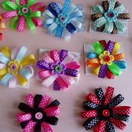 ´¨) ¸.´¸.´¨) ¸.¨) (¸.´Flower Ribbon Hair Clip.........                            YOU CHOOSE YOUR COLORS   This listing is for one pretty flower ribbon hair clip with little crochet flower and button detail these are about  3'4'inc and will be attached...