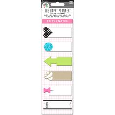 This pre-punched page includes sticky notes that have been designed to fit perfectly in the daily columns of your week view in The Happy Planner. Need to move things around? No problem.  You can use these removable sticky notes to rearrange your schedule at any time. Each package includes: 1 pre-punched page that contains 10 different sticky note pads with 20 self-adhesive notes per design.