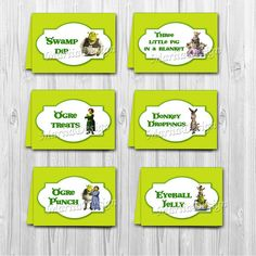 Shrek food labels -  labels for food, Table Food tents - ONLY FILES