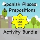 Great collection of activities on places & prepositional phrases in Spanish.  Enough to get me through the whole unit!