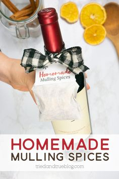 Follow this easy recipe to make your own Homemade Mulling Spices Holiday Gift! Includes free printable tags to add to a wine or cider bottle. Dried Orange Peel, Dried Oranges, Christmas Craft Projects, Christmas Time, Make Your Own Labels, Mulling Spices, Wine Bottle Tags, Free Printable Tags, Easy Gifts