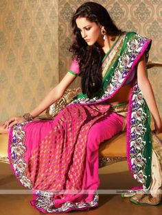 Get an enchanting look wearing this beautiful pink and white elegant saree. Heavy embroidered border and zari woven pleats makes it differ from regular saree and gives it designer look. http://goodbells.com/saree/partywear-pink-and-white-shade-saree.html