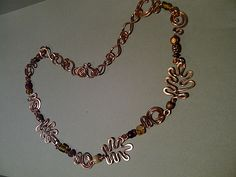 Copper hammered leaves necklace