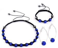 Jewelry Set Earrings Necklace Bracelet Matching Friendship Round Ball Royal Blue