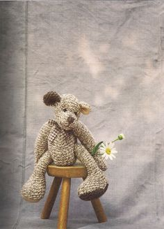 knitted teddy bear by Erika Knight
