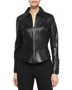 Dondi Inset Ring Detail Jacket, Black by Escada at Neiman Marcus.