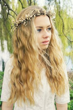 Rustic Wildflower Crown Halo Garland - Small flowers halo, headband, bridal, wedding, garland, floral hair wreath, flower girl, festival