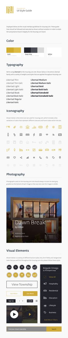 Housing UI Style Guide designed by Jonathan Howell for Focus Lab. Connect with them on Dribbble; Website Style Guide, Web Style Guide, Brand Style Guide, Website Ideas, Design Guidelines, Brand Guidelines, Web Design, Layout Design, Style Tiles
