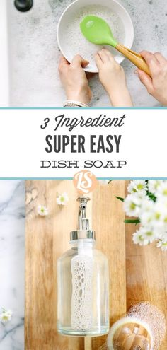 Here's where natural living and real food merge together when it comes to tackling those dishes. This homemade dish soap is a game changer. Homemade Dish Soap, Homemade Body Wash, Cleaning Recipes, Soap Recipes, Cleaning Hacks, Eco Friendly Cleaning Products, Natural Cleaning Products, Aloe Vera Gel, 3 Ingredients