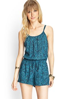Abstract Floral Drawstring Romper | FOREVER21 #F21Contemporary I want thus so bad! So cute!