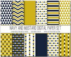 Mustard And Navy Digital Scrapbook Paper Set