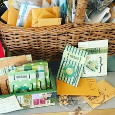 Grab your free seeds, courtesy of #STLSeedSwap, and some beautiful #handmade seed packets made by @carolynhasenfratz! The perfect #springtime gift for #gardener friends! #maplewoodmo #mothersday #giftidea #handmadestl
