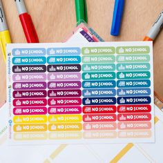 44 No School -  Sticker Planner Perfect for Erin Condren / MAMBI Happy Planner by FasyShop on Etsy