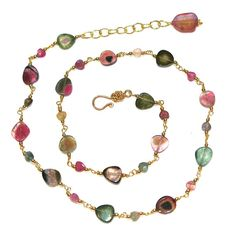 Watermelon Tourmaline Slice Necklace Rainbow by FizzCandy on Etsy, $160.00
