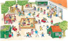 Praatplaat Bas - Schoolplein (Getekend door Dagmar Stam)