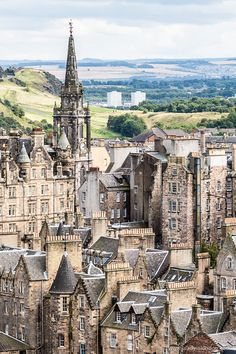 A gorgeous view of Edinburgh, Scotland from the top of the Scott Monument in Princes Street Gardens. Oh The Places You'll Go, Cool Places To Visit, Places To Travel, Travel Destinations, Travel Tourism, Travel Info, Travel Tips, Edinburgh Travel, Scotland Travel