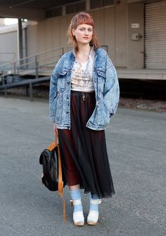 "Katarina, 27  ""Electric blue eyelashes, mullets, crop tops, cat prints, lace ankle socks and clogs inspire me."""
