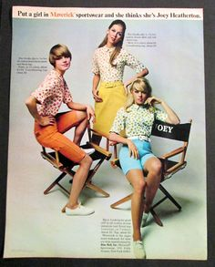 Put a girl in Maverick sportswear she thinks shes Joey Heatherton ad 1968 Sixties Fashion, Teen Fashion, Joey Heatherton, Retro Sportswear, Vintage Outfits, Vintage Fashion, Vintage Clothing, Cool Style, My Style