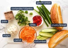 This Banh Mi recipe covers the truly authentic meats as well as how to make an exceptional Banh Mi just by going to your everyday grocery store! Chicken Loaf, Chicken Feed, Banh Mi Recipe, Food Network Recipes, Cooking Recipes, Vietnamese Sandwich, Juicy Baked Chicken, Carrot And Coriander, Leftover Pork