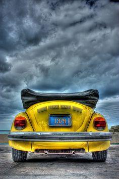 convertible yellow bug