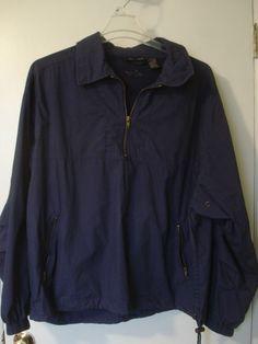SHARK GREG NORMAN Golf Windwear 1/3 Zip Pullover Jacket Mens XL Navy Blue #GregNorman #CoatsJackets