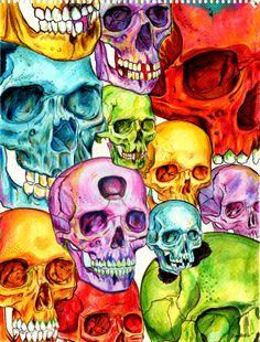 queendirectory:    raudiel:    Invasion    psychedelic skulls? reblog foeva