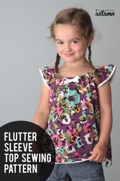 Free flutter sleeve top pattern! Click through for the free sewing pattern for this top (or dress) in size 4T.