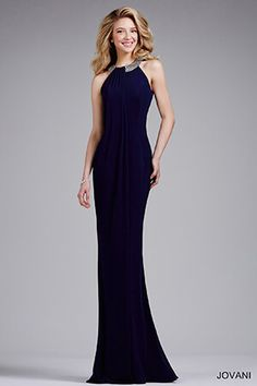 Navy Fitted Jersey Prom Dress 28649