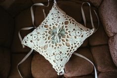 pretty crocheted ring pillow