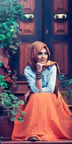 Orange Maxi Skirt with Blue jeans top ( Hijab)